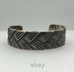 Antique Early 1920s Pawn NAVAJO Silver Ingot Woven Chiseled Cuff Bracelet 51.8g