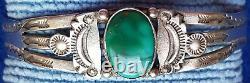 Antique Fred Harvey Era Silver Turquoise Bracelet