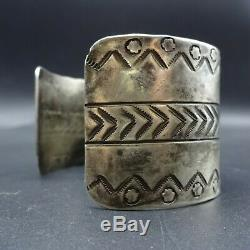 Antique NAVAJO Ingot Coin Silver Cuff BRACELET with Stamp Work EXTRA WIDE 59g