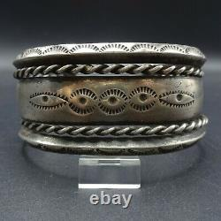 Antique NAVAJO Ingot Coin Silver Cuff BRACELET with Stamp Work and Twisted Wire