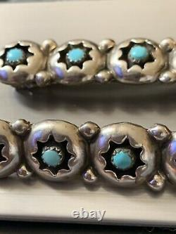 Antique Old Pawn Navajo Barrete Hair Clip Pair, Turquoise And Silver Evil Eye