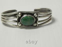 Antique Old Pawn Vintage Navajo Indian Sterling Coin Silver Turquoise Bracelet