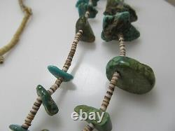 Antique Santo Domingo Turquoise Nugget Bead Heishi Necklace Native American Old