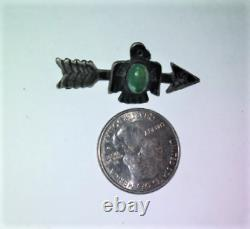 Antique Sterling Silver Navajo Old Pawn Harvey Turquoise Thunderbird Pin Brooch