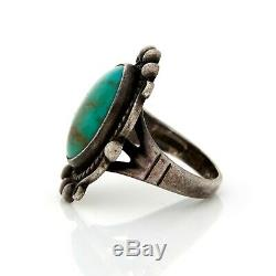 Antique Vintage 900 Sterling Coin Silver Native Navajo Turquoise Pinky Ring Sz 4