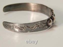 Antique Vintage Navajo Indian Harvey Era Coin Silver Bracelet Snakes+lightning