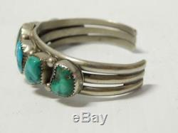 Antique Vintage Navajo Indian Sterling Silver 7 Turquoise Stone Bracelet Pawn