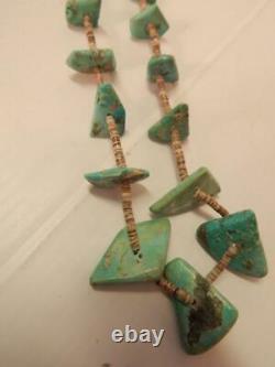 Antique Vintage Navajo / Santo Domingo Pueblo Indian Turquoise + Heishi Necklace