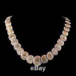 Antique Vintage Sterling 925 Silver Native Navajo Pawn Disk Pearl HUGE Necklace