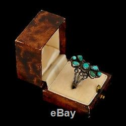 Antique Vintage Sterling Coin Silver Native Navajo Pawn Turquoise Ring Sz 7.5