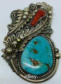 Authentic Vintage Large Navajo Sterling Silver, Turquoise, & Red Coral Pendant