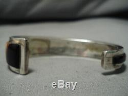 Authentic Vintage Navajo Turquoise Inlay Sterling Silver Bracelet Old