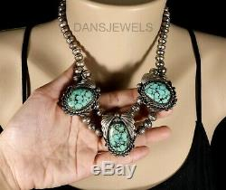 BISBEE SPIDERWEB TURQUOISE Vintage Navajo CHOKER Beads NECKLACE