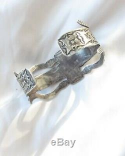 Beautiful Vintage Coin Silver Navajo Thunderbird Snake Whirling Log Cuff C. 1930