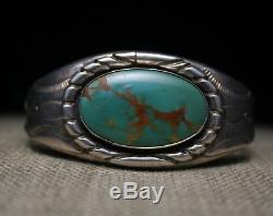 Beautiful Vintage Native American Navajo Turquoise Sterling Silver Cuff Bracelet