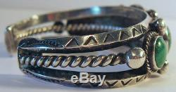 Beautiful Vintage Navajo Indian Silver Green Turquoise Cuff Bracelet