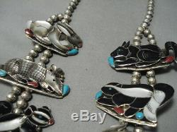Best Vintage Navajo Zuni Turquoise Inlay Sterling Silver Squash Blossom Necklace