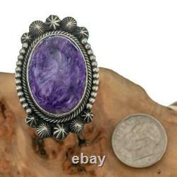 Big PURPLE CHAROITE Ring Sterling Silver AARON TOADLENA Natural Navajo 8.75