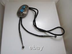 Big Signed Jn Double Turquoise Sterling Silver Bolo Tie Vintage Native Navajo