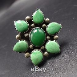 Big Vintage NAVAJO Sterling Silver & Green TURQUOISE Cluster RING, size 8.25