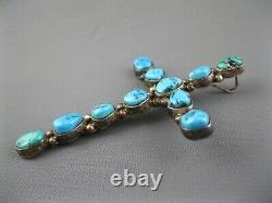 Big Vintage Navajo Sterling Natural Turquoise Cross Enhancer Pendant 3 Inch