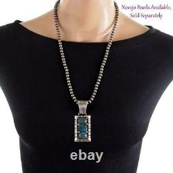 CALVIN MARTINEZ Necklace Pendant EGYPTIAN PRINCE TURQUOISE Ingot Silver Sterling