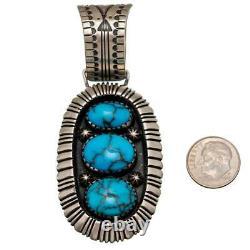CALVIN MARTINEZ Necklace Pendant EGYPTIAN TURQUOISE Ingot Silver Totem Sterling