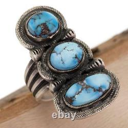 CALVIN MARTINEZ Turquoise Ring GOLDEN HILL Sterling Silver INGOT Navajo Totem 8