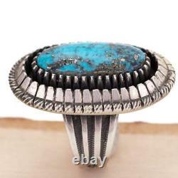 CALVIN MARTINEZ Turquoise Ring ITHACA PEAK Sterling Silver INGOT Navajo Handmade