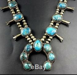 CLASSIC Vintage NAVAJO Sterling Silver BLUE TURQUOISE Squash Blossom NECKLACE