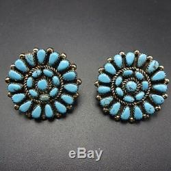 CLASSIC Vintage NAVAJO Sterling Silver TURQUOISE Round Cluster EARRINGS Pierced