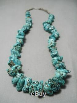Chunky Huge Vintage Navajo Spiderweb Turquoise Nuggets Necklace Old