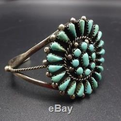 Classic Vintage NAVAJO Sterling Silver & TURQUOISE Cluster Cuff BRACELET 29.7g