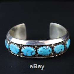 Classic Vintage Navajo old Kingman Turquoise cuff bracelet Sterling Silver. 925