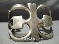 Colossal Heavy Thick Sturdy Vintage Navajo Sterling Silver Bracelet Old