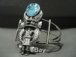 Completely Handmade Vintage Navajo'turquoise Kachina' Silver Bracelet
