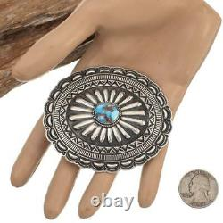 Concho BELT BUCKLE Sterling Silver Golden Hill Turquoise White Navajo Old Style