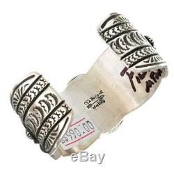 DARRYL BECENTI (D) Navajo Turquoise Bracelet Cuff Natural Sterling Silver