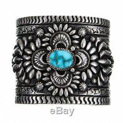 DARRYL BECENTI Turquoise Bracelet Natural Kingman Spiderweb Squash Blossom Cuff