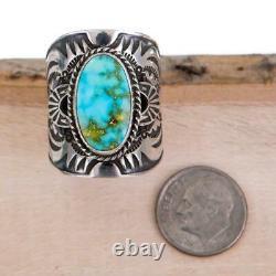 DERRICK GORDON Native American Turquoise Ring Spiderweb Sterling Silver MENS 10