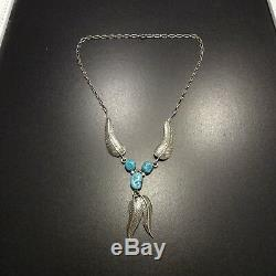 Delicate Signed Vintage NAVAJO Sterling Silver & Kingman TURQUOISE NECKLACE