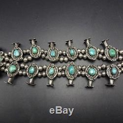 Delicate Vintage NAVAJO Sterling Silver & Turquoise SQUASH BLOSSOM Necklace