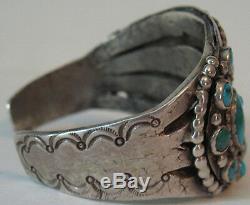 Deluxe Vintage Navajo Indian Silver & Multi Blue Gem Turquoise Cuff Bracelet