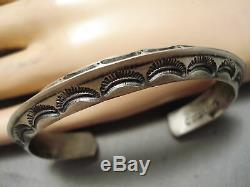 Detailed Thicker Vintage Navajo Hand Tooled Sterling Silver Bracelet Old
