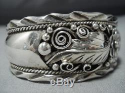 Detailed! Vintage Navajo Sterling Silver Leaf Garden Bracelet Old Cuff