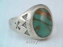 EARLY Native American Indian BELL STERLING TURQUOISE RING SIGNED