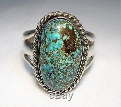 ESTATE HUGE Vintage Navajo Nevada Blue Turquoise Ring Sterling Silver TT SAM-8