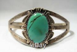 ESTATE Vintage Sterling Silver Fred Harvey Era Turquoise Cuff Bracelet K775