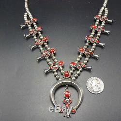 EXQUISITE Vintage NAVAJO Sterling Silver CORAL SQUASH BLOSSOM Necklace