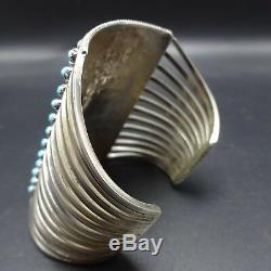 EXTRA WIDE Vintage ZUNI Sterling Silver TURQUOISE Snake Eye Cuff BRACELET 73g